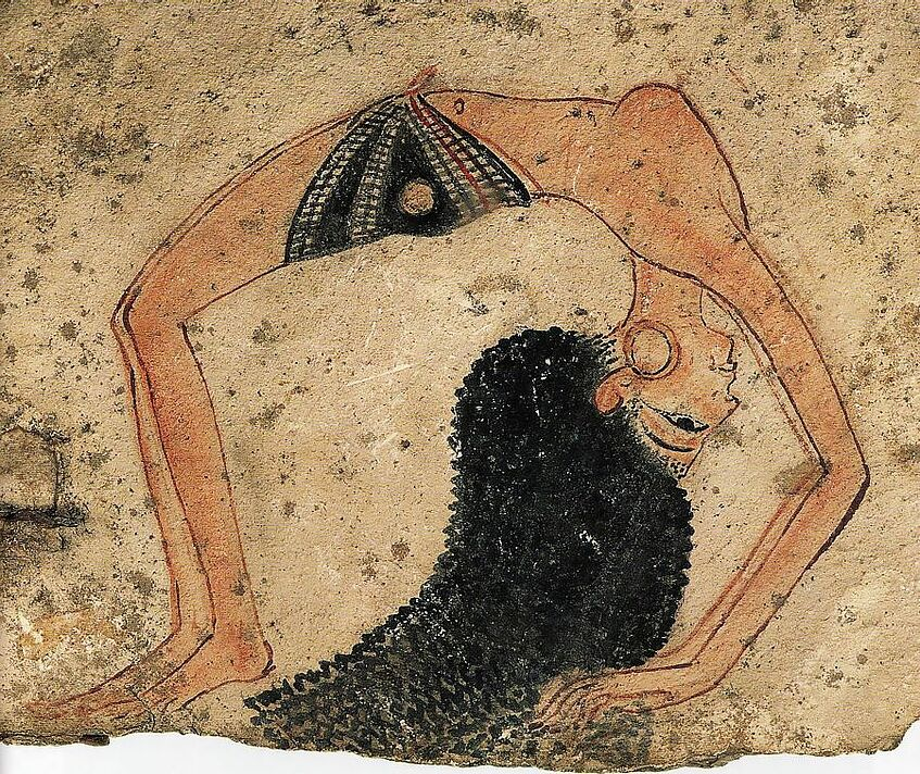 Wall painting of an Egyptian dancer.