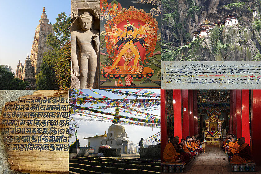 Photo collage of Tibetan and Buddhist architecture, art, sculptures and texts.